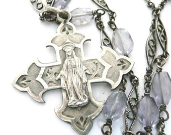 Blessed Virgin Mary Necklace, Vintage French Silver Medal