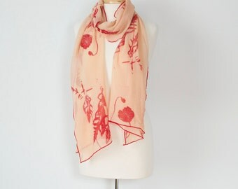 coral orange and pink natural madder dyed silk habotai scarf or wrap with pale green edging