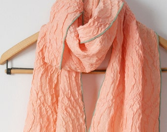 pale peach natural madder dyed silk chiffon scarf with pale green edging