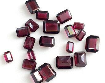 WHOLESALE 10 Pcs Garnet Emerald Cut Gemstones, Loose Garnet Faceted Rectangle Stones, Garnet Jewelry, 4x6mm - 7x9mm - PGPA134