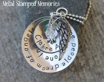 Personalized Memorial Necklace, with Angel Wing Charm, Some People DREAM OF ANGELS, Sterling Silver, Hand stamped Name and Birthstone