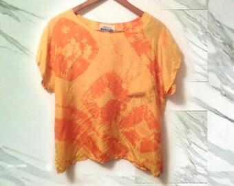 90s Orange Silk Tie Dye Kimono Sleeve Boxy Cut Patch Pocket Office Blouse size Large OOAK Upcycled