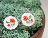 Dangle earrings with hand embroidered orange pink flowers e011