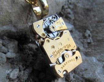 Steampunk Gold Segmented Elgin Watch Movement Necklace Pendant A 14