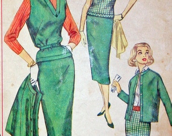 Size 14 Bust 34 Vintage Pencil Skirt Overblouse and Jacket Sewing Pattern Simplicity 2389 Cut and Complete