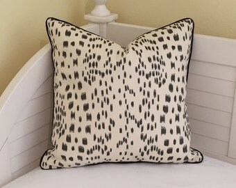 Brunschwig and Fils Les Touches Animal Print in Black and Cream Designer Pillow Cover with Black Piping- Square, Lumbar, and Euro Sizes