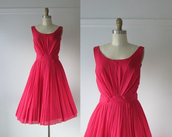 vintage 1950s dress / 50s dress / Tropical Punch