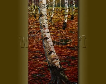 Birch Forest Original Textured Palette Knife Landscape Painting Oil on Canvas Modern Art 18X36 by Willson