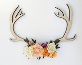Felt wildflower wooden antler art
