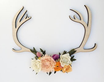 Felt wildflower wooden antler art