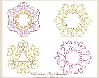Machine Redwork - Round Machine Quilt Motifs - Colorwork - Quilt Embellishment  - Quilt Embroidery - 4 Designs - 3 Sizes - ROUND SET - No.1