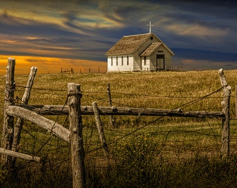Old Rural Country Church at Sunset on the Prairie in South Dakota at 1880 Town No.353 a Fine Art Landscape Photography