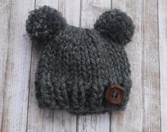 Chunky Knit Double Pom Pom Hat With Button - Newborn, Baby, Child - 14 Color Options - Photo Prop