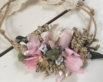 Boho flower child flower headband flower crown, cozette couture, flower girl