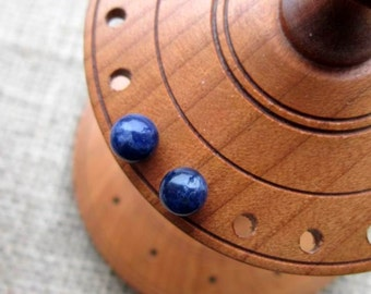 Sodalite Sterling silver stud earrings - studs 6mm dark blue ball posts