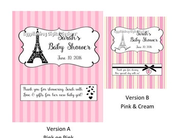 Full Size Candy Bar Wrappers - Baby, Bridal, Bachelorette, Birthday - Paris & Pink Themed - You Print