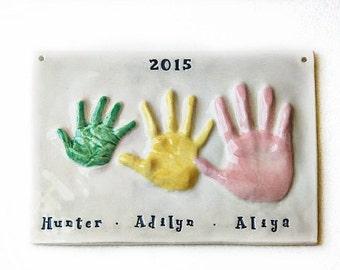 RESERVED 4 handprint Keepsake - Custom Sibling Keepsake  - Hand Print Art -- Gift For Mom & Dad - Personalized Family Gift - Keepsake