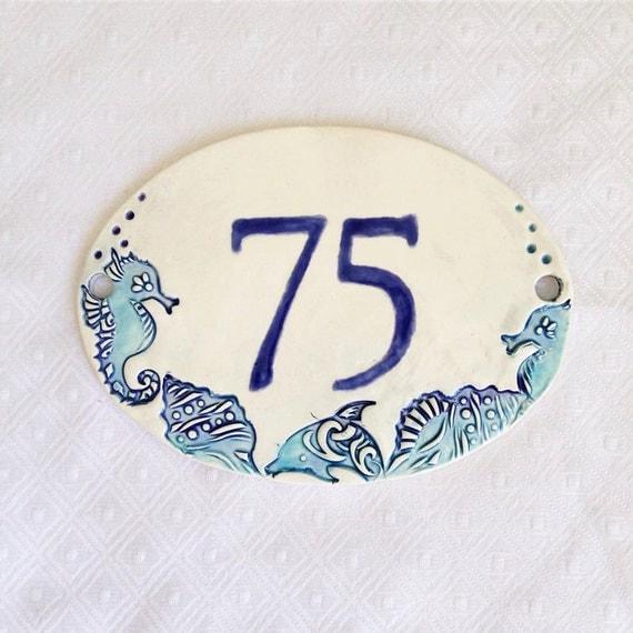 house numbers sign beach address plaque ceramic address. Black Bedroom Furniture Sets. Home Design Ideas