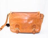 caramel leather laptop messenger buckle cross over bag