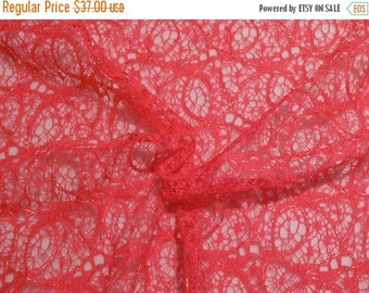 ON SALE Hot Melon Pink with Gold Metallic Allover Lace Fabric--One Yard