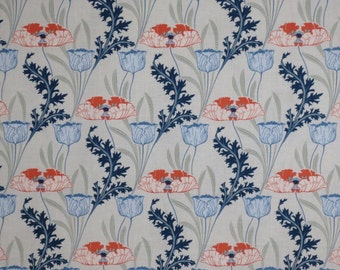 Soft Blues with Coral Morris Floral Print Pure Cotton Fabric--One Yard