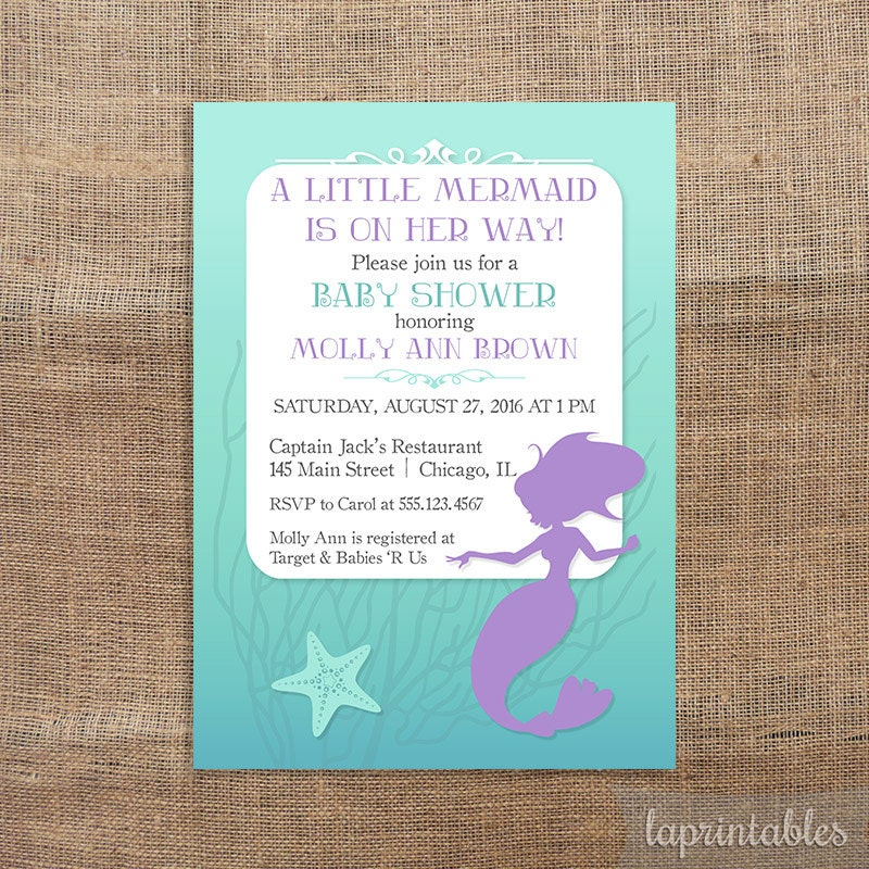 mermaid baby shower invitation little mermaid baby by laprintables