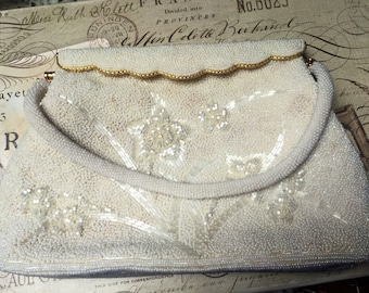 Vintage White Beaded Purse, Hong Kong, Bridal Handbag, Estate Sale, Beaded Clutch Evening Bag
