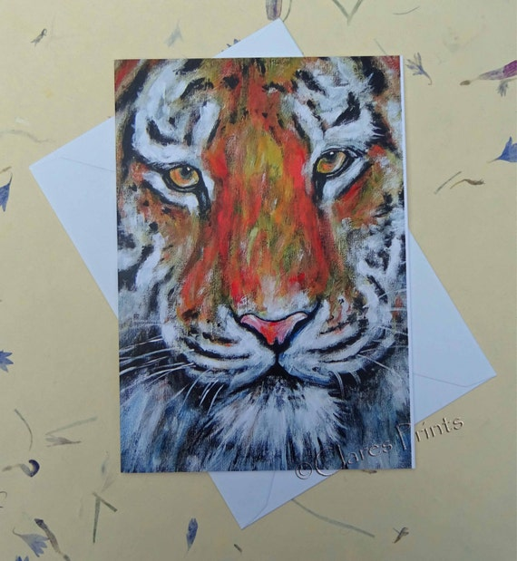 Tiger Art Card Blank Greeting Card From my Original Acrylic Painting Cat