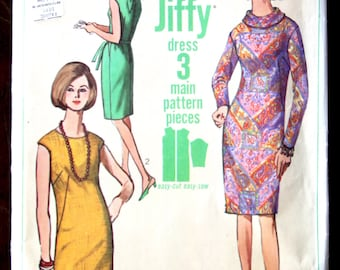 Vintage 1966 Simplicity 6437 One-Piece Jiffy Dress Bust 34