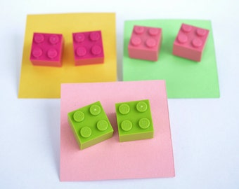 Legotastic Brick 2x2 Lego Studd Studded Post Earrings You Pick Your Colour
