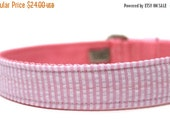 ON SALE Light Pink Seersucker Dog Collar with Metal Buckle
