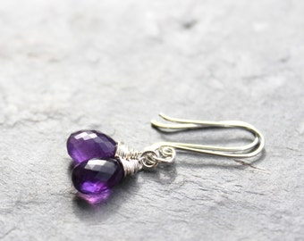 Amethyst Earrings Purple Sterling Silver February Birthstone Petite Dangle