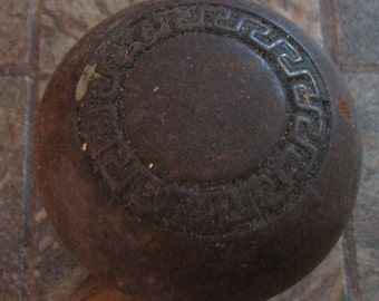 Vintage Rusty Door Knob Doorknob No. 1 of 2 Greek Key Design