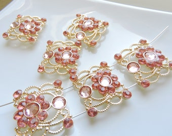 Slider Beads Lovely Gold Tone n Rose Colored Rhinestone  2 Hole Slider Charms  Add some nice slider beads to your project - 3pcs