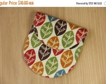 FINAL CLEARANCE Camera Lens Cap Pocket - holds up to 67mm - Colorful Leaves - Ready to Ship