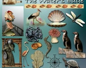 The Water's Edge Collage Sheet, Natural History Collage Sheet Beach Collage Sheet, ATC Download