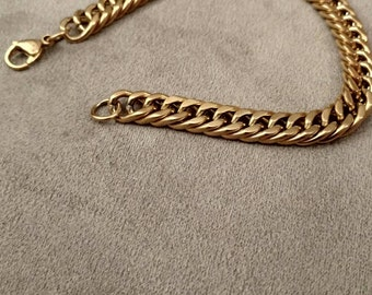 Stainless Steel Cable Chain, Bracelet, Gold, Gentleman's Style, FREE SHIPPING