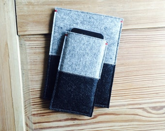 FELT IPHONE 5/6/SE/6+ case sleeve- 2 colors gray grey felt