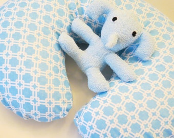 Light Blue flannel with White Lines and Squares baby Boppy or nursing pillow cover