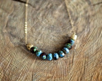 Czech Glass and Golden Pyrite Necklace with 14 k gold filled chain