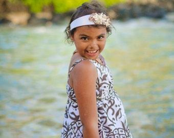 Siena Sisi Inspired Headband Starfish Chocolate Brown Ivory Seashells White Satin Beach Weddings Flower Girls Mermaid Parties Special Events