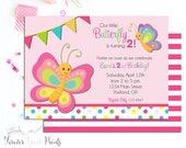 Butterfly Birthday Invitation, Butterfly Party Invite, Butterfly Invitation, Kids Party Invite, 1st Birthday Invitation, Girls birthday