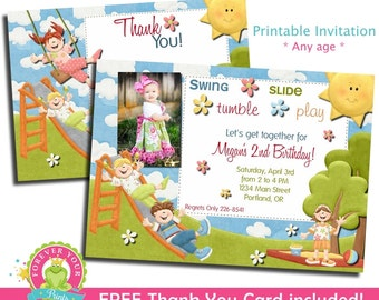 Playground Birthday Invitation - Girls Playground Invite - Girls Park Invitation - Playground Party - Playground Invitation - Girls Invite