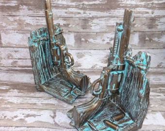 Set of Pistol Book Ends / Gun Bookends / Gift For Him / Patina / Western / Gun Decor