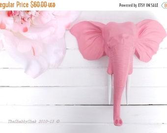 Faux Taxidermy / Wall Mount Animal Head / Elephant Head Wall Decor / Pink Elephant/ Nursery Decor / Shabby Chic Decor