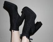 90s womens platform black nylon strech sock boot size 10
