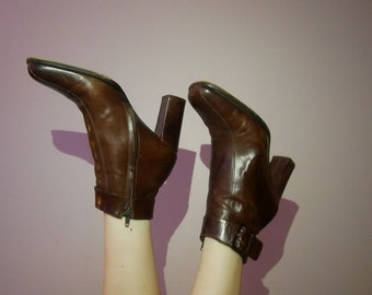 90s brown leather buckle boots size 39