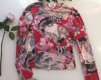 90s juno mesh long sleeve top size m