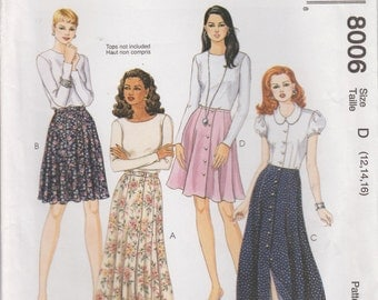Easy Skirt Pattern Button Front Waistband Long and Short Misses Size 12 - 16 uncut McCalls 8006