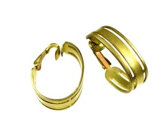 Clip on earrings, raw brass big ovals